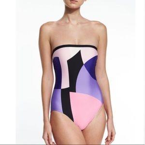 Kate Spade limelight color block one piece swim